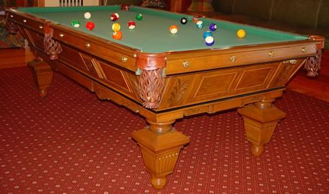 Antique August Jungblut Manhattan pool table, restored