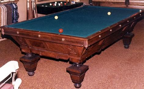Restored August Jungblut Manhattan billiards table